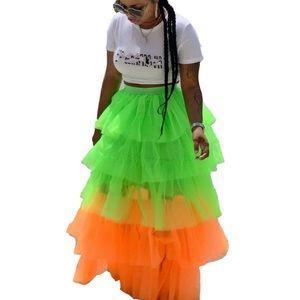 Multicolor Ruffle Tulle TuTu Maxi Skirt
